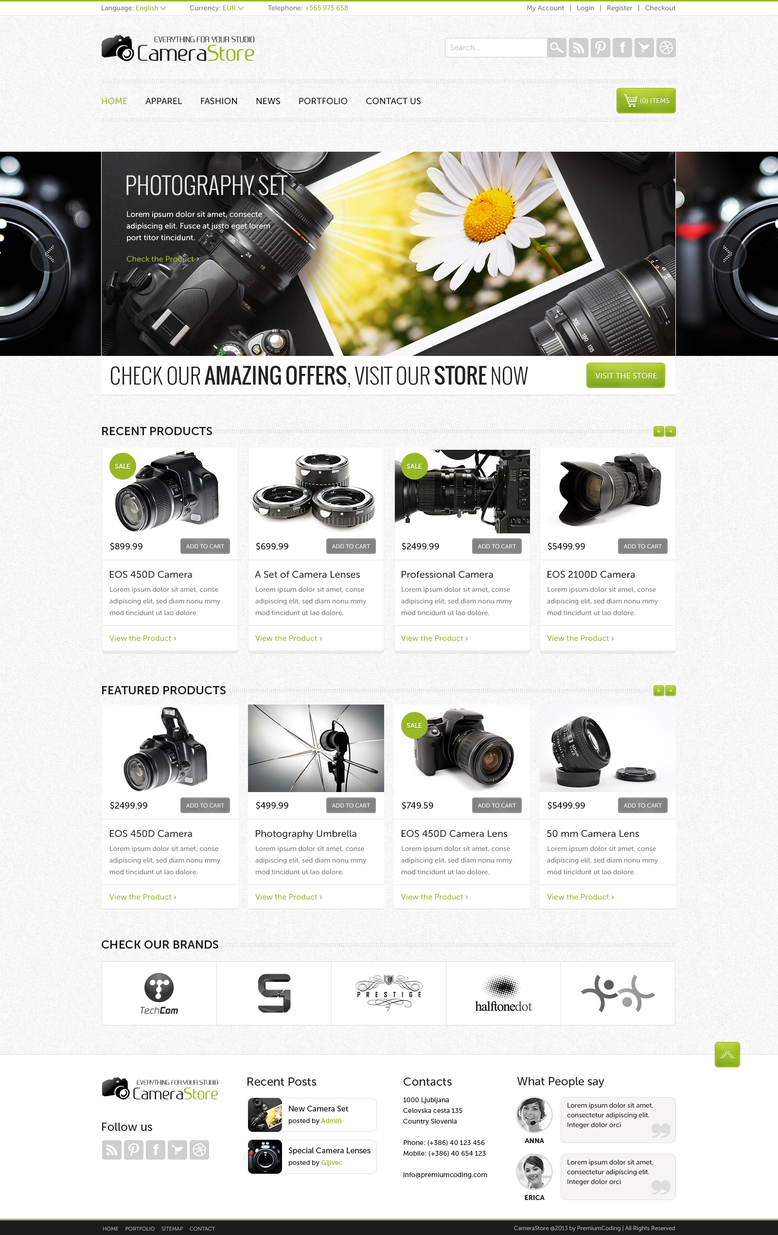 Camera Store Ecommerce Template PSD