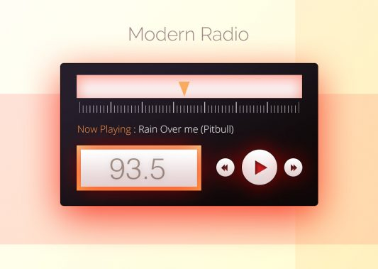 Modern Radio Widget UI Free PSD