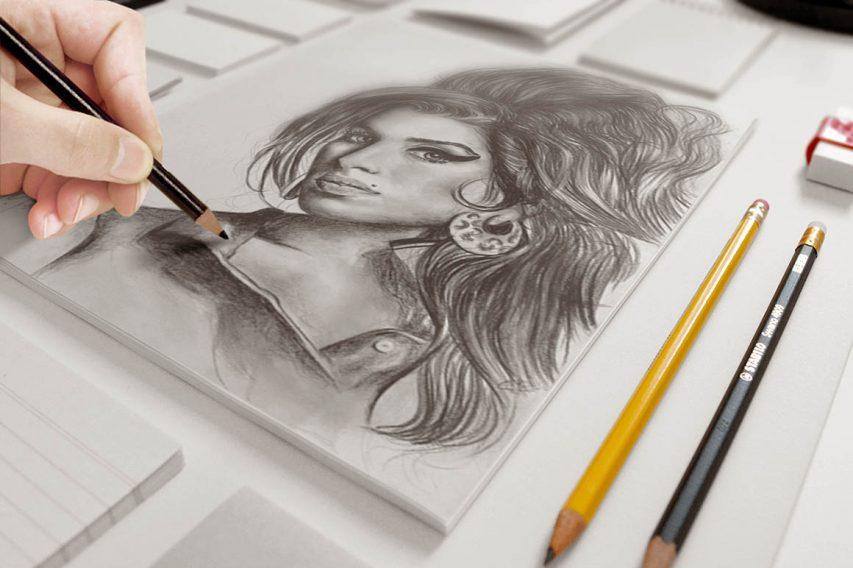 Art Sketch Mockup Free PSD