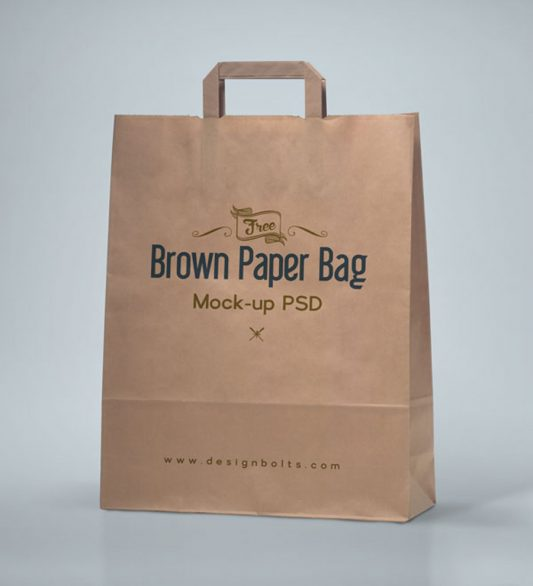 Brown Shopping Bag Mockup Free PSD