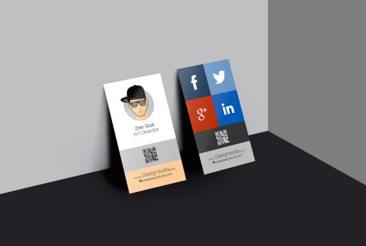 Vertical Business Card Design Mockup Free PSD
