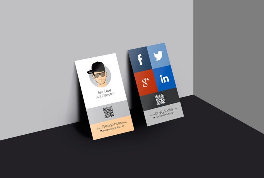 Vertical Business Card Design Mockup Free PSD