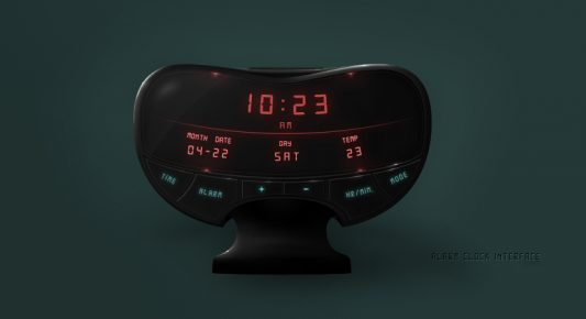 Alarm Clock User Interface Widget Free PSD