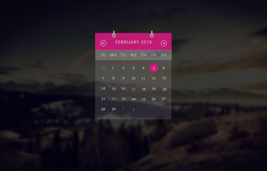 Transparent Calendar Widget UI Free PSD