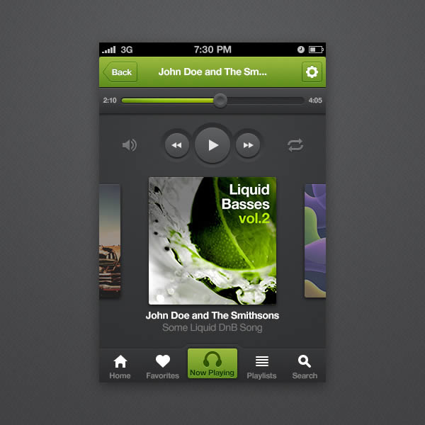 IPhone Music Player App Interface PSD