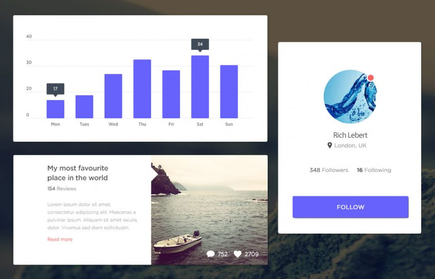 Purple Flat User Interface Widgets Free PSD