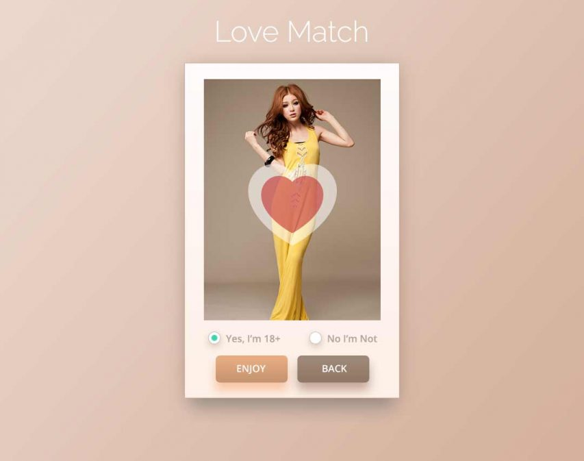 Love Match App UI Free PSD