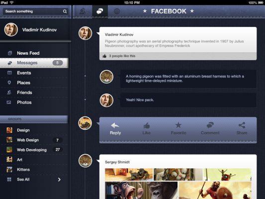 Facebook Redesign iOS Concept Free PSD