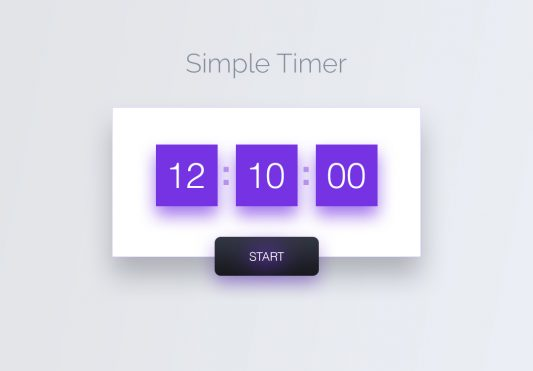 Simple Timer Widget UI Free PSD