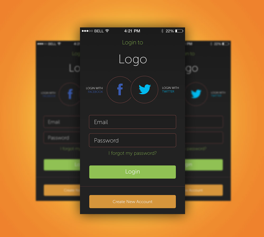 App Login Screen Free PSD