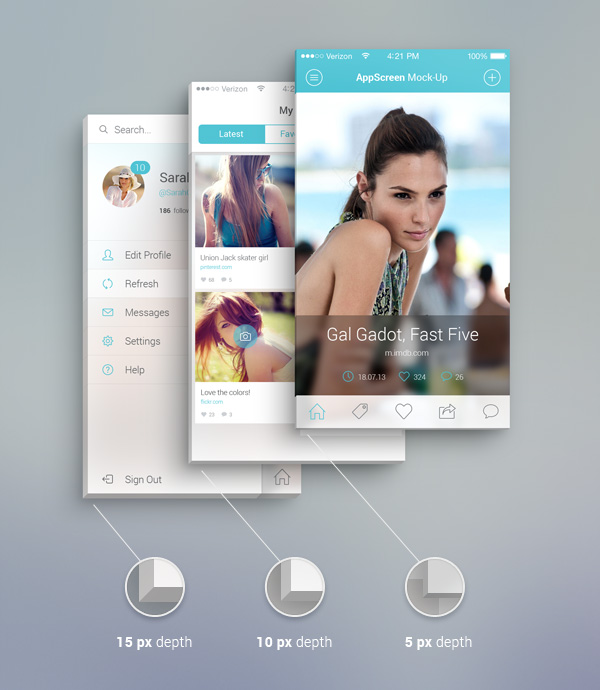App Screen Front View PSD MockUp