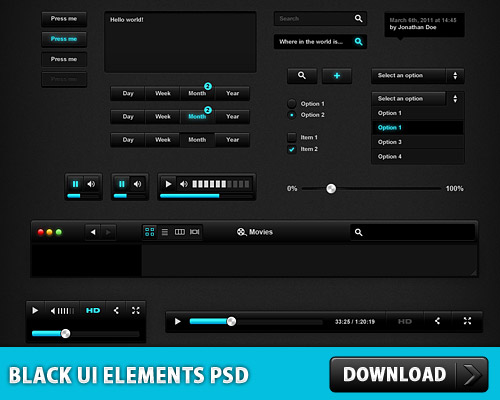 Black UI Elements PSD L
