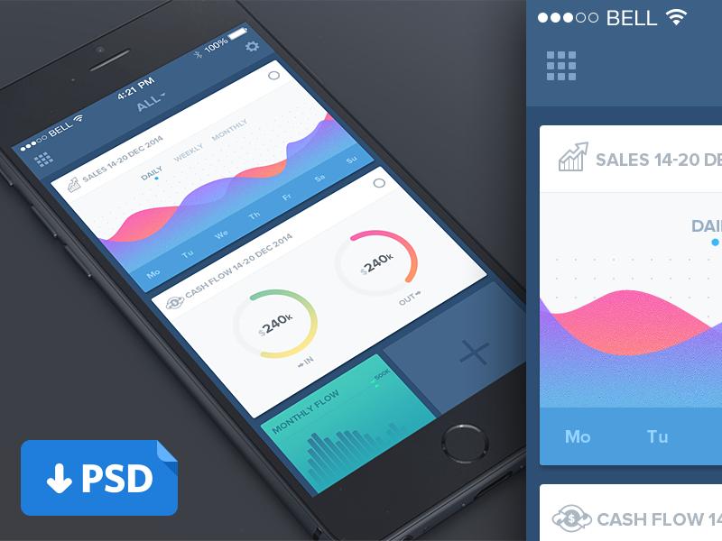 Clean Dashboard Mobile UI Template PSD Freebie