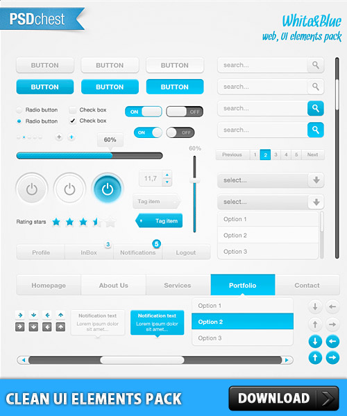 free clean ui element pack psd at freepsd cc