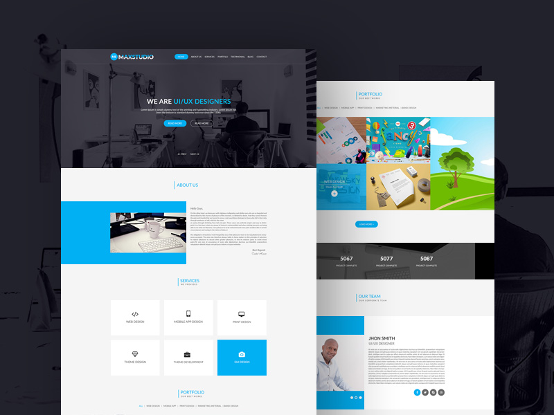 free clean and minimal personal portfolio template psd at freepsd cc