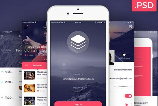 Clean and Modern iOS UI Kit Free PSD