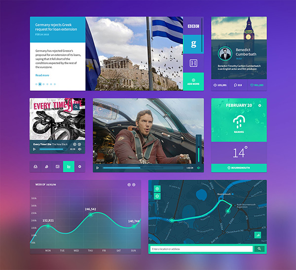 Colored flat and simple UI Kit Free PSD