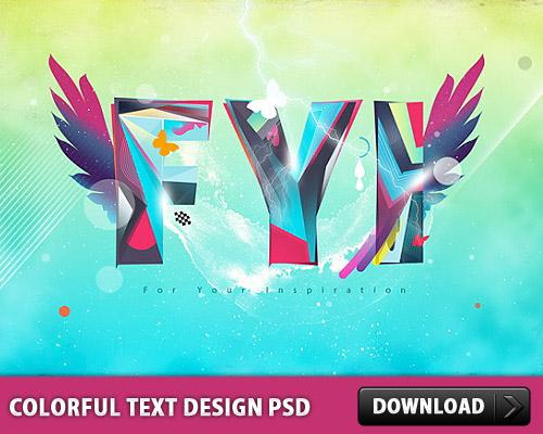 Colorful Text Design PSD L