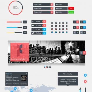 Colorful Web UI Material Free PSD
