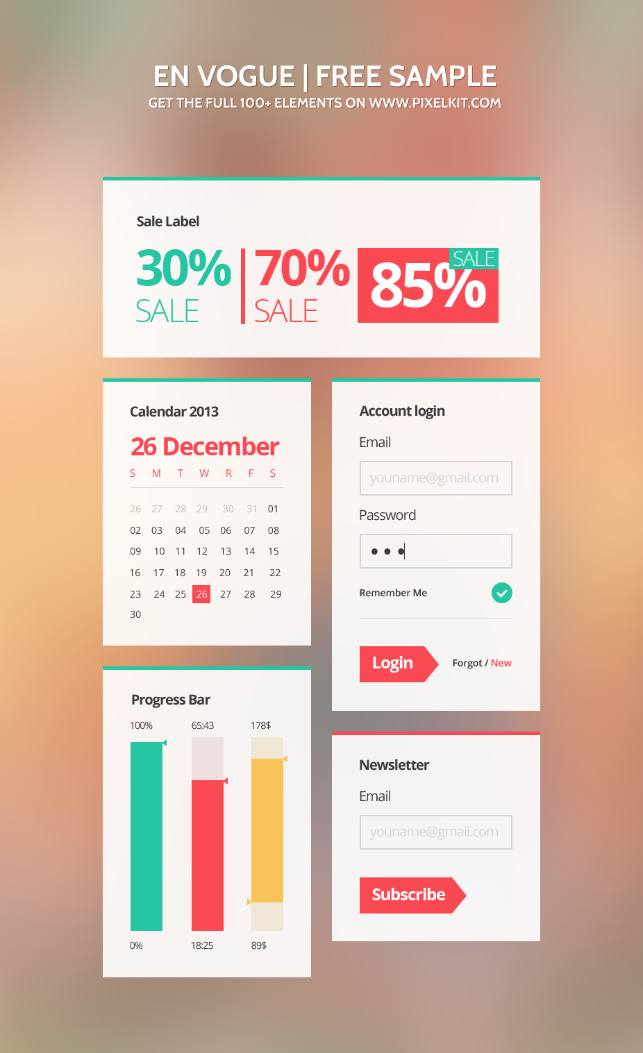 Colorful ECommerce UI Elements Kit PSD