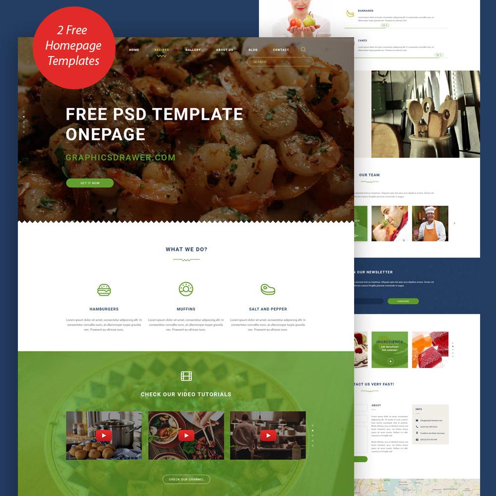 Cooking Blog Website Template Free PSD