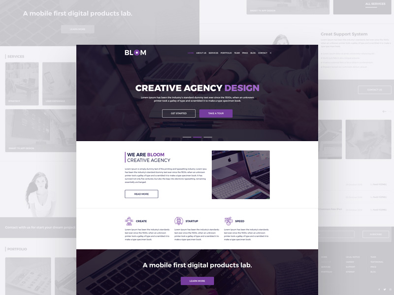 Creative Agency Full Web Templates Free PSD