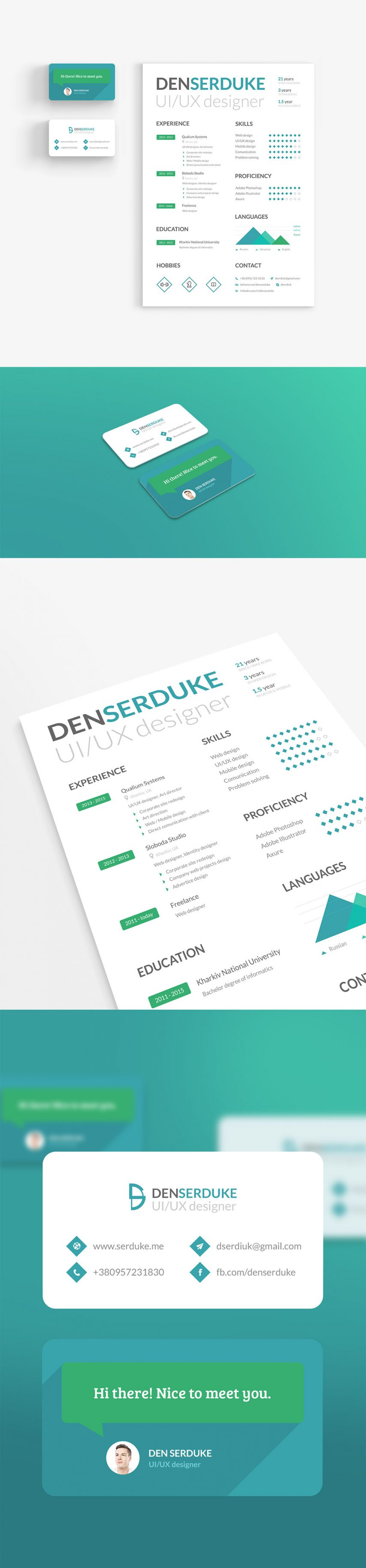 Free Creative Resume Template And Business Card Identity Free Psd