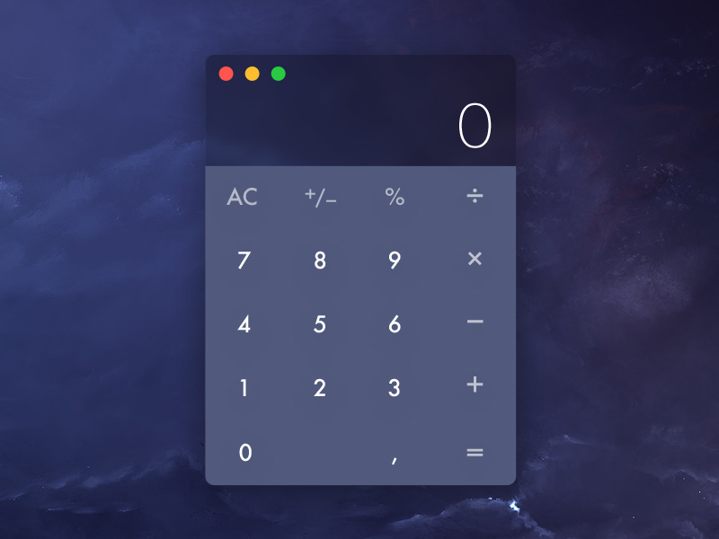 Dark Calculator Widget UI Free PSD