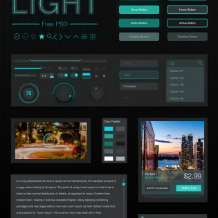 Dark Style UI Kit Elements Free PSD