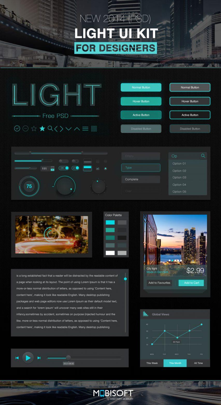 Dark Style UI Kit Elements Free PSD