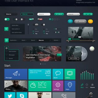 Dark UI Kit Components Free PSD