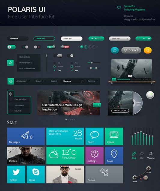Dark UI Kit Components Free PSD