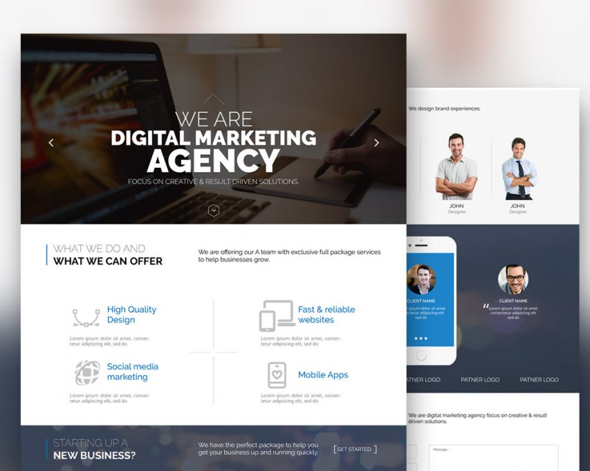Free digital marketing agency website template free psd at for Top photo selling websites