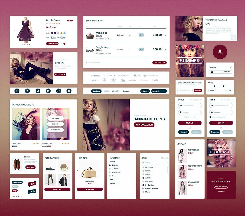Elegant Fashion ECommerce UI Kit Free PSD