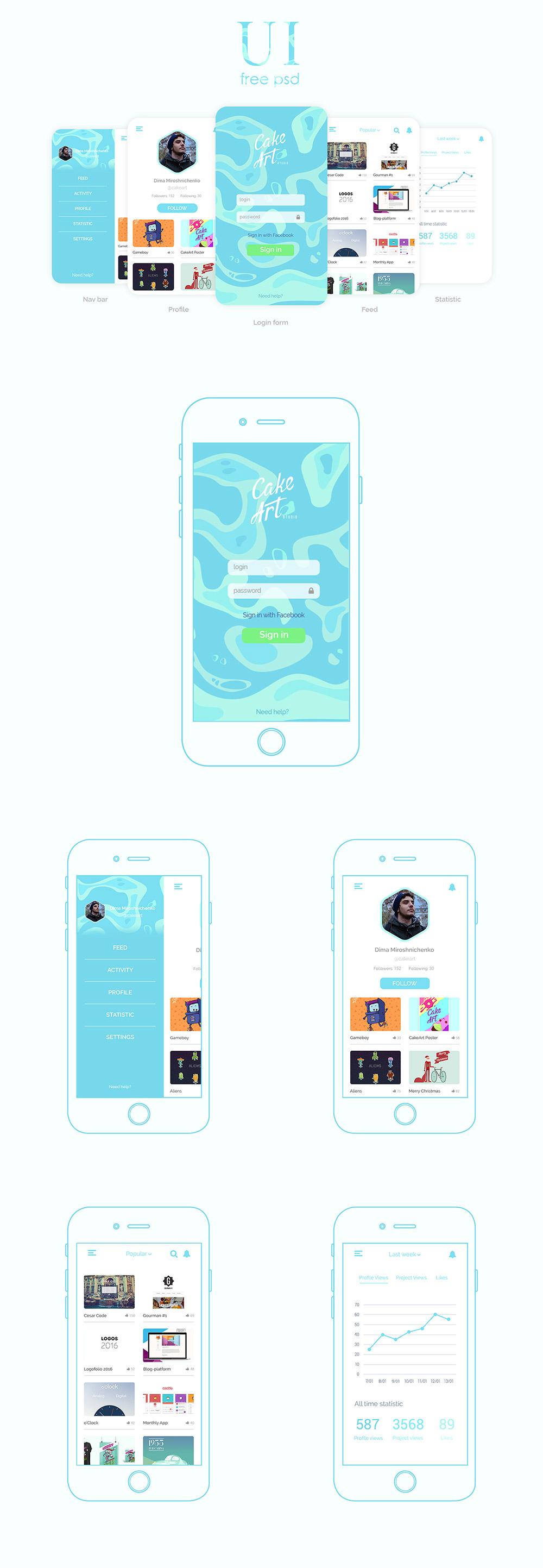 Elegant Social Mobile App Design Templates Free PSD