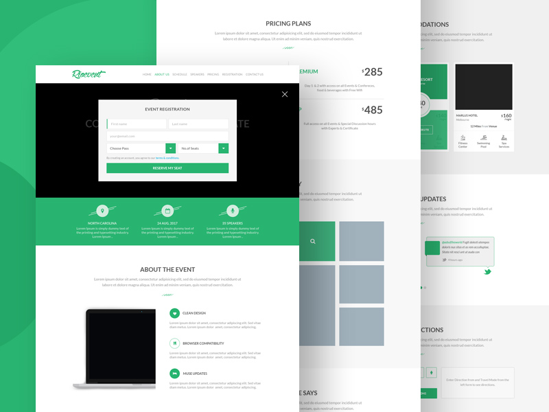 Free event registration landing page template psd at for Room layout website