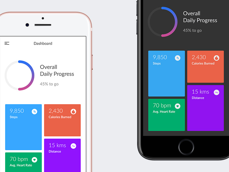 Fitness Application Dashboard UI Free PSD