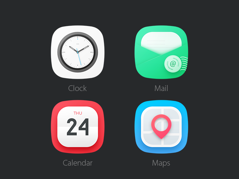 Free Flat Rounded Mobile App Icons PSD at FreePSD cc