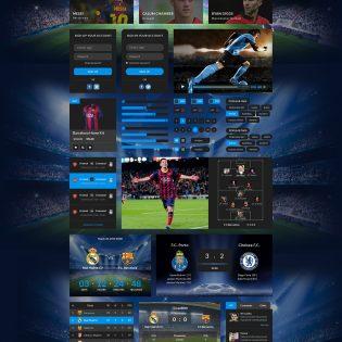 Football UI Kit Elements Free PSD