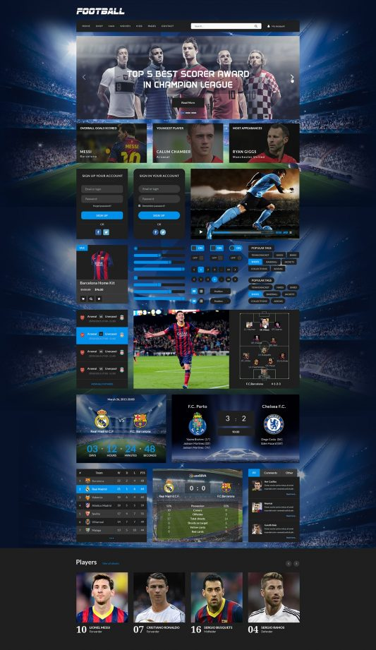 Football UI Kit Elements Free PSD