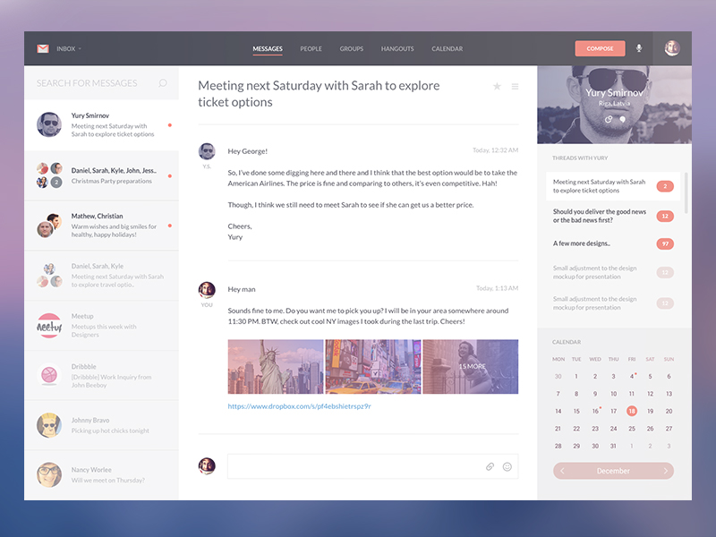 Gmail Revamp Template Concept PSD
