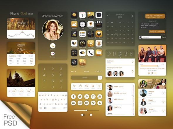Gold style iPhone UI Kit Free PSD