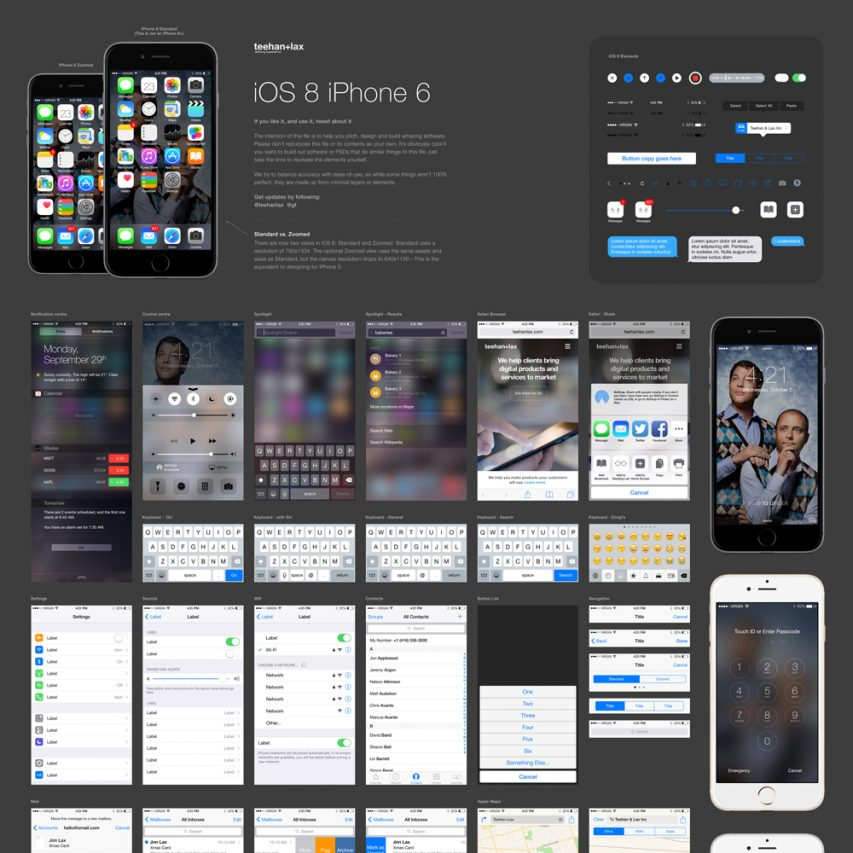 IOS 8 GUI Element Kit Free PSD