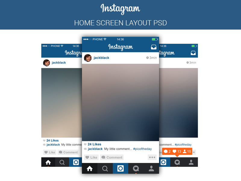 free instagram mobile application template psd at freepsdcc