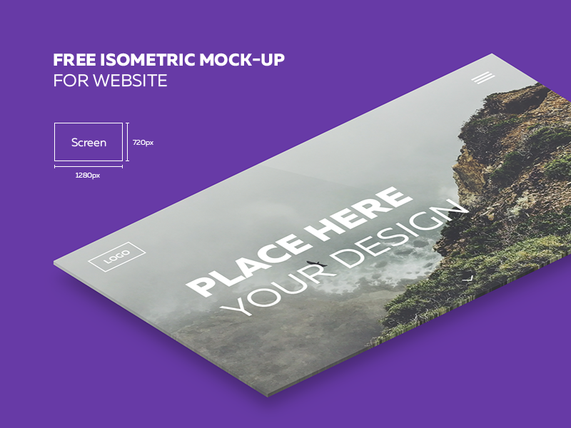 Isometric Website Mockup Free PSD