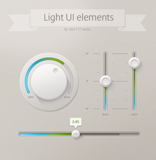 Light UI Elements Psd