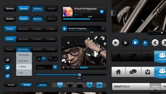 Media Dark UI Kit Free PSD