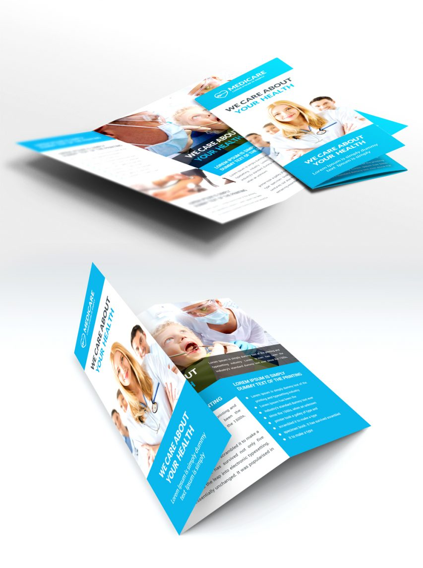 free medical care and hospital trifold brochure template free psd at
