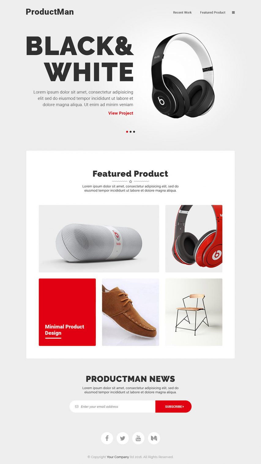 free minimalistic product landing page template free psd at. Black Bedroom Furniture Sets. Home Design Ideas