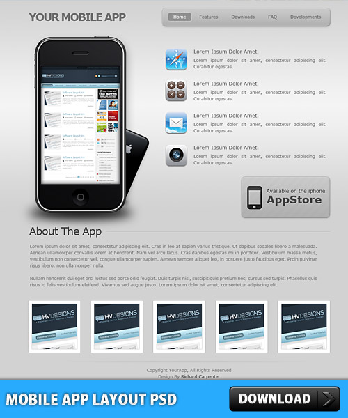 Free Mobile App Layout Free PSD at FreePSD.cc